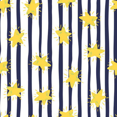 Bright contrast seamless pattern with yellow stars ornament. Monochrome background with black and white strips. Perfect for wallpaper, textile, wrapping paper, fabric print. Vector illustration.