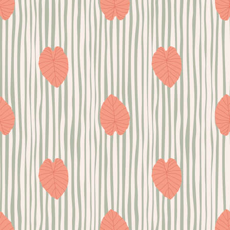 Creative stylized seamless outline leaf silhouettes. Pink pastel light figures on striped gray background. Designed for wallpaper, textile, wrapping paper, fabric print. Vector illustration.