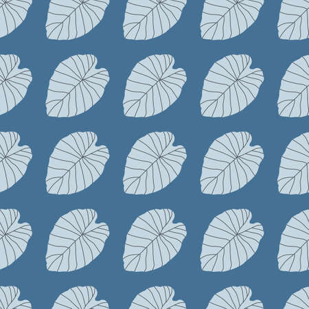 Nature seamless doodle pattern with light blue contoured leaves. Foliage print with bright background. Designed for wallpaper, textile, wrapping paper, fabric print. Vector illustration.