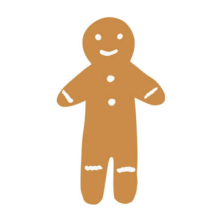 Gingerbread human isolated on white background. Christmas cookies in doodle vector illustration. Vettoriali