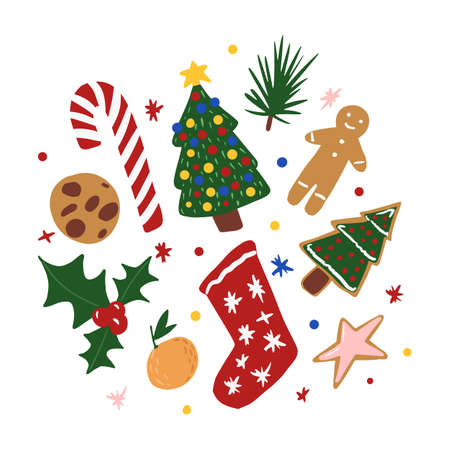 Composition Christmas elements on white background. Abstract symbols christmas tree, gingerbread, sock, tangerine, cookies, start, mistletoe, candy in doodle vector illustration. Vettoriali