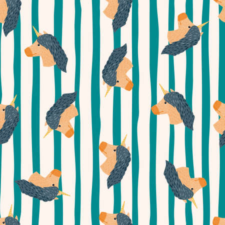 Seamless random pattern with unicorn cartoon silhouettes. Childish print with striped white and turquoise background. Designed for fabric design, textile print, wrapping, cover. Vector illustration.