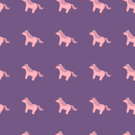 Fairytale seamless pattern with hand drawn pony unicorn ornament. Purple background. Perfect for fabric design, textile print, wrapping, cover. Vector illustration.