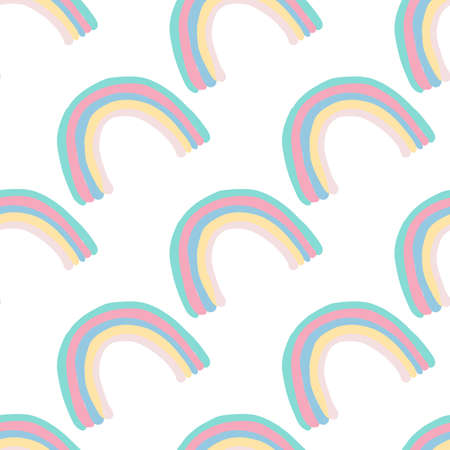 Isolated seamless doodle pattern with rainbow pastel multicolor shapes. White background. Decorative backdrop for fabric design, textile print, wrapping, cover. Vector illustration. Vettoriali