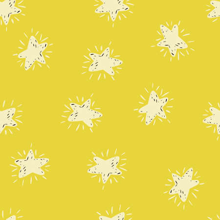 White stars silhouettes seamless hand drawn pattern. Yellow background. Cosmic backdrop. Perfect for wallpaper, textile, wrapping paper, fabric print. Vector illustration. Vettoriali