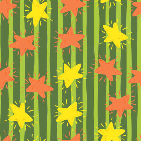 Random cartoon kids seamless star pattern. Space ornament in yellow and pink colors on green striped background. Perfect for wallpaper, textile, wrapping paper, fabric print. Vector illustration. Vettoriali