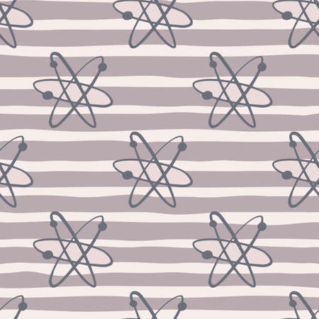 College education seamless pattern with atom shapes. Chemical print with pastel purple striped background. Decorative backdrop for fabric design, textile print, wrapping, cover. Vector illustration. Vettoriali