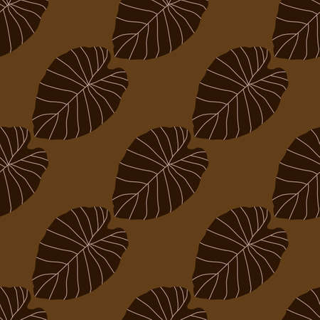Fall seamless pattern with brown leaf outline shapes on beige background. Simple ornament in autumn tones. Designed for wallpaper, textile, wrapping paper, fabric print. Vector illustration. Vettoriali
