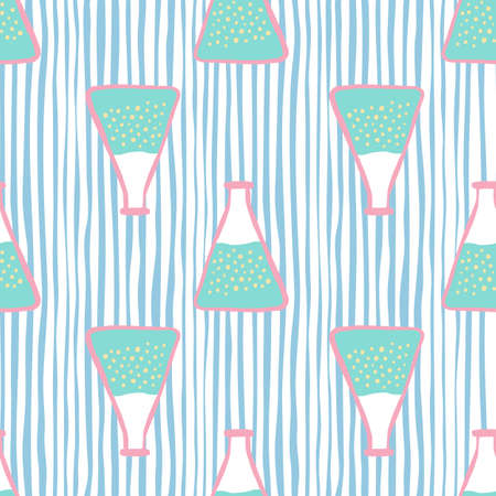 Seamless pattern with blue flask ornament. Laboratory experiment elements on striped blue and white background. Decorative backdrop for wallpaper, textile, wrapping, fabric print. Vector illustration.
