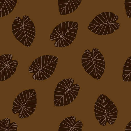 Autumn leaves doodle silhouettes seamless pattern. Brown foliage. Fall random botanic backdrop. Designed for wallpaper, textile, wrapping paper, fabric print. Vector illustration.
