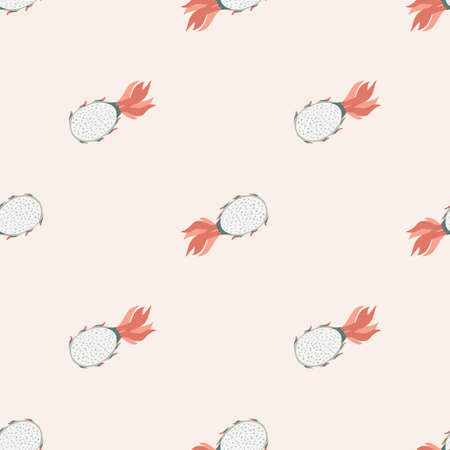 Pitahaya seamless doodle pattern in light pastel pink tones. Summer food backdrop. Perfect for fabric design, textile print, wrapping, cover. Vector illustration. Stock Illustratie