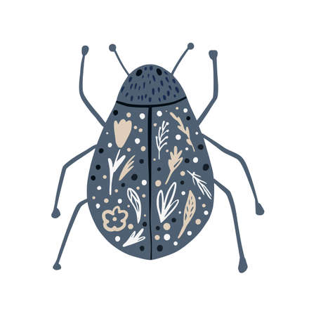 Gray beetle isolated on white background. Abstract insects short with flowers tracery in doodle vector illustration. Ilustração