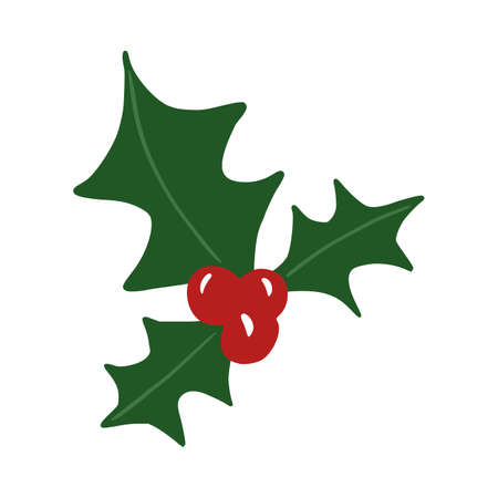 Mistletoe isolated on white background. Christmas traditions in doodle vector illustration. Vector Illustratie