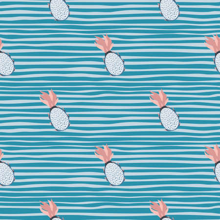 Little pitahaya shapes seamless pattern. Hand drawn fruits on blue striped background. Perfect for fabric design, textile print, wrapping, cover. Vector illustration.