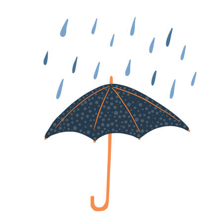 Open umbrellas with polka dots and rain isolated on white background. Abstract umbrellas dark blue color in style doodle vector illustration. Çizim