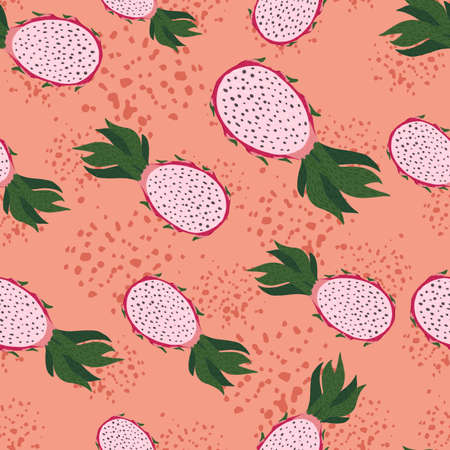 Seamless random pattern with pitahaya silhouettes. Coral pastel background with splashes. Perfect for fabric design, textile print, wrapping, cover. Vector illustration.