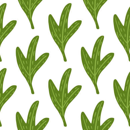 Isolated abstract leaf seamless doodle pattern. Nature print with green bright foliage on white background. Great for fabric design, textile print, wrapping, cover. Vector illustration.