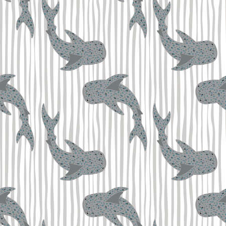Gray whale sharks silhouettes seamless pattern. Light stripped background. Nature backdrop. Perfect for fabric design, textile print, wrapping, cover. Vector illustration.