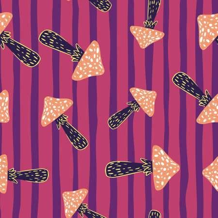Psychdelic seamless pattern with orange and black colored magic mushrooms. Pink striped background. Decorative backdrop for fabric design, textile print, wrapping, cover. Vector illustration.