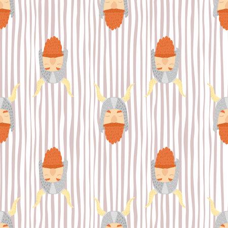 Woodland scandi seamless pattern with simple orange viking print. Striped light background. Decorative backdrop for fabric design, textile print, wrapping, cover. Vector illustration Vektorgrafik