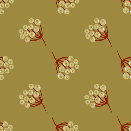 Rowan doodle shapes seamless simple pattern. Palen olive green background. Forest berries ornament.  Vector illustration