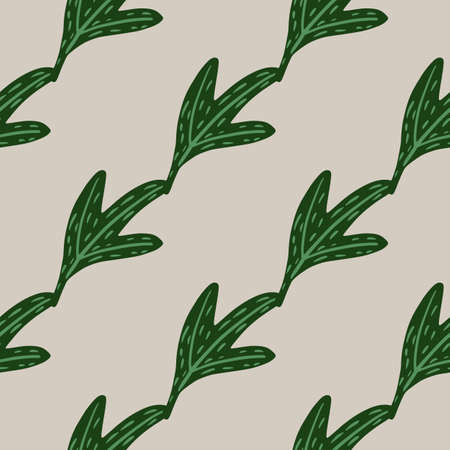 Minimalistic seamless doodle pattern with diagonal green leaves ornament. Light gray background.  Vector illustration.