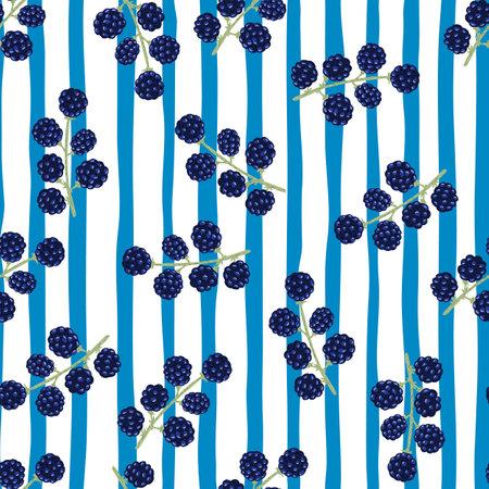 Random navy blue blackberry ornament seamless pattern. Blue and white striped background. Vector illustration