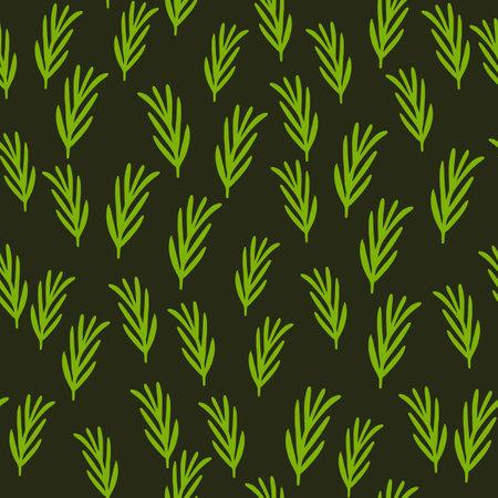 Cartoon seamless herbal pattern with green rosemary ornament. Dark background.