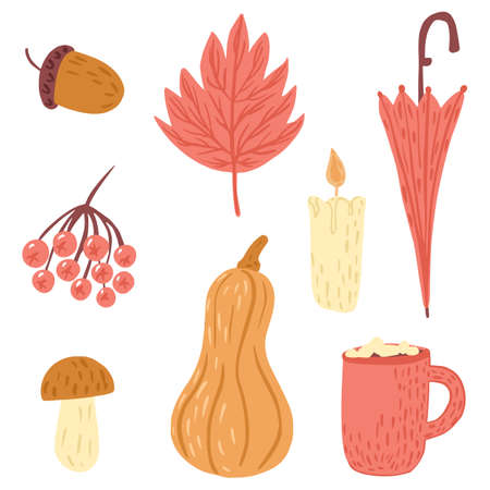 Set of autumn mood isolated on white background. Cartoon rowan, umbrella, leaf, acorn, candle, hot chocolate, marshmallows, mushroom, pumpkin. Doodle style vector illustration