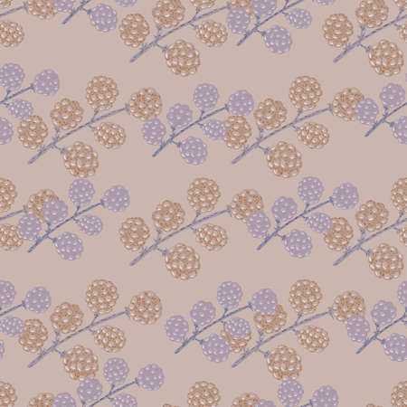 Pastel palette seamless pattern with simple blackberry branches shapes. Pale pink and blue tones artwork. Vector illustration