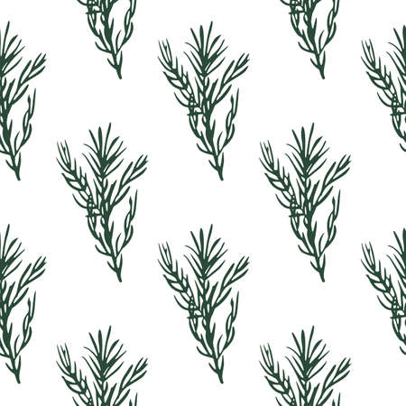 Seamless pattern with green rosemary branch elements. White background. Isolated nature backdrop. Perfect for fabric design, textile print, wrapping, cover. Vector illustration. Иллюстрация