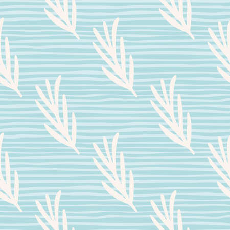 Decorative seamless pattern with white rosemary silhouettes ornament. Blue striped background. Иллюстрация