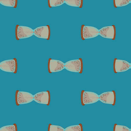 Beige hourglass hand drawn ornament seamless doodle pattern. Blue background.