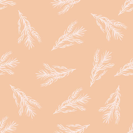 Random seamless pattern with white rosemary branches elements. Pink pastel background. Perfect for fabric design, textile print, wrapping, cover. Vector illustration. Иллюстрация