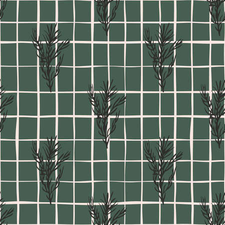 Spice seamless pattern with dark rosemary branches ornament. Green background with check. Perfect for fabric design, textile print, wrapping, cover. Vector illustration.