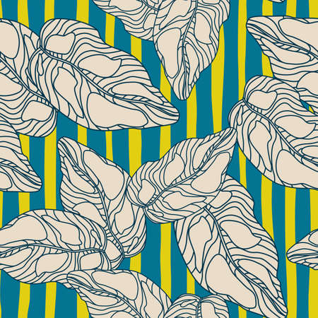 Random seamless contoured pattern with leaves. Green and navy blue striped background. Great for wallpaper, textile, wrapping paper, fabric print. Vector illustration.