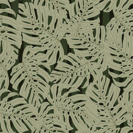 Decorative pale seamless pattern with gray monstera shapes. Green striped background. Decorative backdrop for wallpaper, textile, wrapping paper, fabric print. Vector illustration. Ilustrace