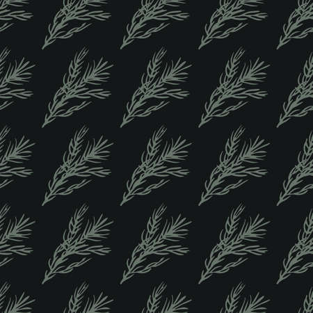 Minimalistic seamless pattern with rosemary ornament. Black background. Floral decoration. Perfect for fabric design, textile print, wrapping, cover. Vector illustration.