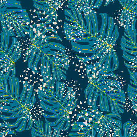 Tropical seamless doodle pattern with random blue monstera print. Background with splashes. Decorative backdrop for wallpaper, textile, wrapping paper, fabric print. Vector illustration. Ilustrace