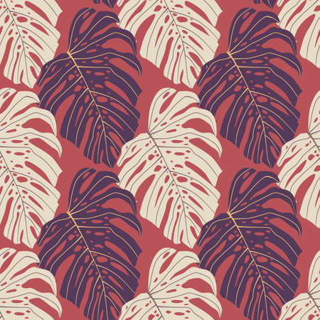 Cartoon seamless nature pattern with simple light and purple monstera ornament. Pink background. Decorative backdrop for wallpaper, textile, wrapping paper, fabric print. Vector illustration.