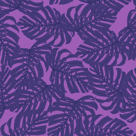 Seamless random pattern with purple monstera foliage tropic ornament. Lilac background. Decorative backdrop for wallpaper, textile, wrapping paper, fabric print. Vector illustration.
