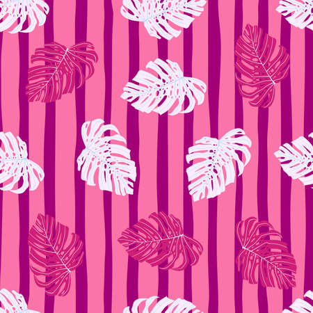 Seamless random bright pattern with pink and white monstera print. Striped pink background. Decorative backdrop for wallpaper, textile, wrapping paper, fabric print. Vector illustration. Ilustrace