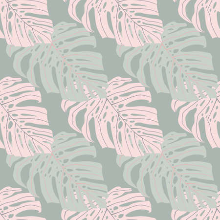 Simple tropical doodle monstera shapes seamless pattern. Light pink and blue tones. Decorative backdrop for wallpaper, textile, wrapping paper, fabric print. Vector illustration. Ilustrace