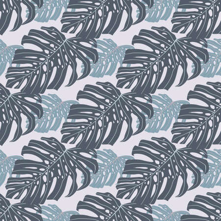 Decorative seamless pattern doodle ornament with monstera. Pastel blue palette. Decorative backdrop for wallpaper, textile, wrapping paper, fabric print. Vector illustration.