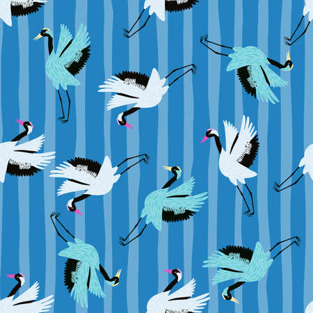 Bright random cartoon seamless pattern with white and blue crane shapes. Striped background. Designed for fabric design, textile print, wrapping, cover. Vector illustration