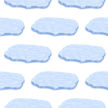 Isolated cartoon blue antarctica ice floe silhouettes. White background. Cold winter doodle backdrop. Designed for fabric design, textile print, wrapping, cover. Vector illustration