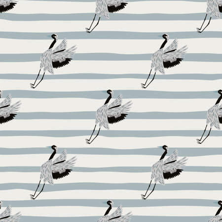 Doodle funny animal seamless pattern with simple crane bird shapes. Striped background. Simple design. Designed for fabric design, textile print, wrapping, cover. Vector illustration Иллюстрация