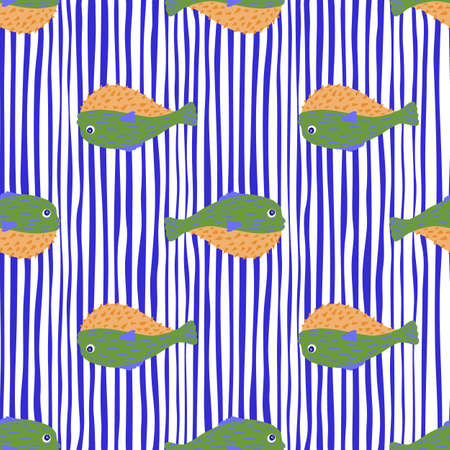 Exotic seamless doodle pattern with green colored puffer fish elements. Bright blue striped background. Perfect for fabric design, textile print, wrapping, cover. Vector illustration.