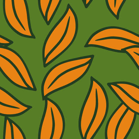 Nature seamless bright pattern with orange leaves random print. Green background. Scrapbook botany ornament. Designed for fabric design, textile print, wrapping, cover. Vector illustration. 矢量图像