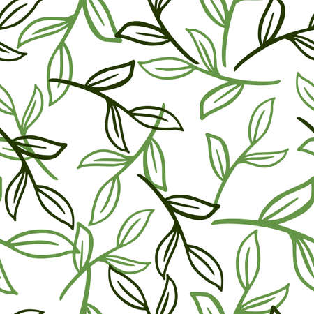 Isolated seamless pattern with hand drawn green colored random outline leaves branches. White background. Decorative backdrop for fabric design, textile print, wrapping, cover. Vector illustration.